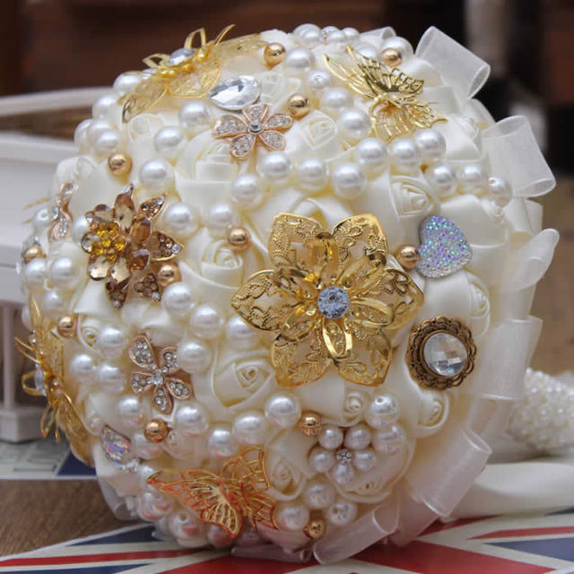 The Latest Handmade Pearl  Bridal Bouquet Silk Wedding Bouquets Crystal Bouquets  FW158