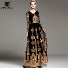 Luxury New Arrival Women's O Neck Long Sleeves Vintage Embroidery Party Prom Elegant Maxi Runway Dresses in 3 Colors