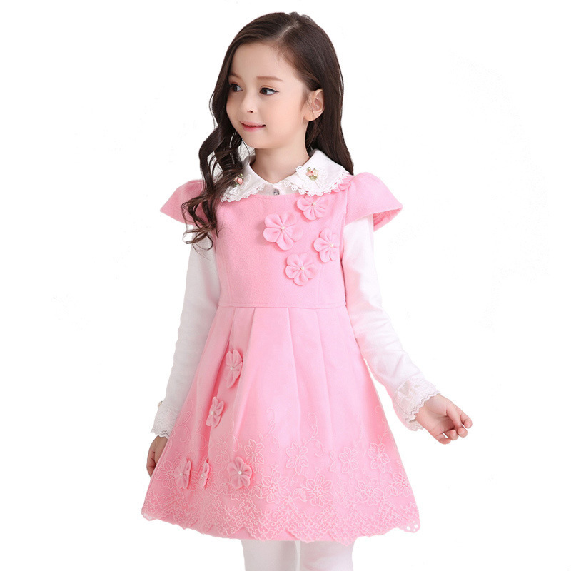 Children's Garment Spring Autumn Girl Dress New Pattern Lace Woolen Princess Vest Dress Kids Clothing 2016 spring new pattern korean children s garment girl baby lace back will bow dress girl jacket