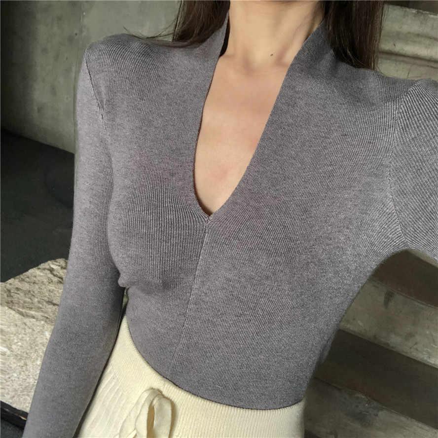 6 цветов Трикотажные топы Женская футболка femme весна и осень v-образный вырез тонкая футболка с длинным рукавом укороченные топы для женщин s (R5510)