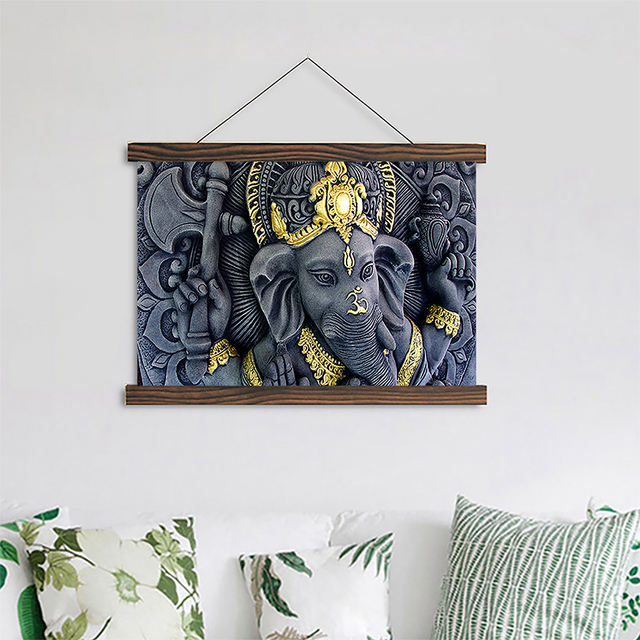 Canvas print poster india elephant god ganesha paintings scroll wooden frame or hanging ready to hang