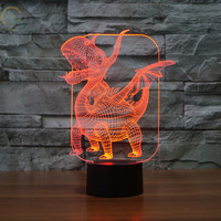 Creative 3D Dinosaur Night Lights Usb Lamps 7 Colour Changing Desk Lights for Kids Home Deco Boy's Gift