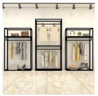 6ccc520d463f9 Giyim mağaza vitrin rafı çift askı erkek ve kadın giyim mağaza rafı demir  sanat vitrin rafı