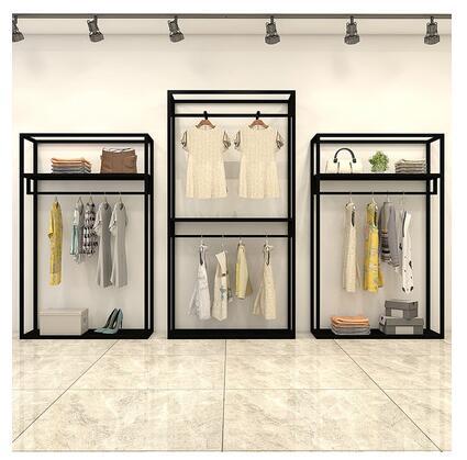 Présentoir de magasin de vêtements double cintre pour hommes et femmes étagère de magasin de vêtements fer art présentoir midisland rayonnage.