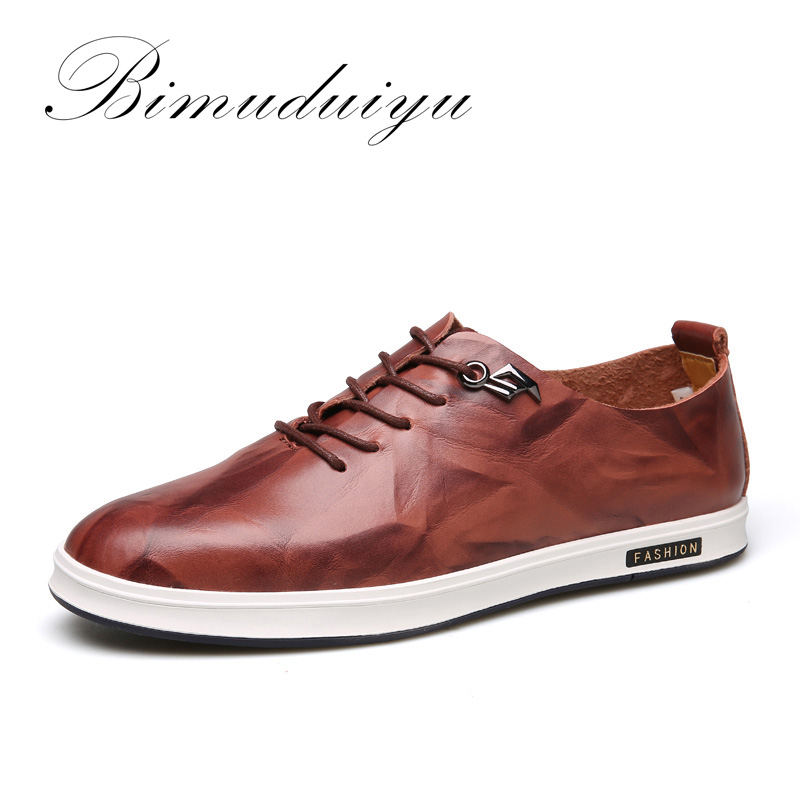 BIMUDUIYU Brand 2018 New England mens Single Breathable Genuine Leather Soft Casual Shoes Fashion Embossing Lace-Up Flat shoes