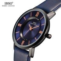 IBSO 7 MM Ultra Thin Women Watches 2017 Genuine Leather Strap Fashion Blue Quartz Watch Women