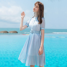 AcFirst Summer Women Blue Chiffon A-Line Dress O Neck Striped Party Holiday Ruffles Lady Sexy Plus Size Sweet Dresses