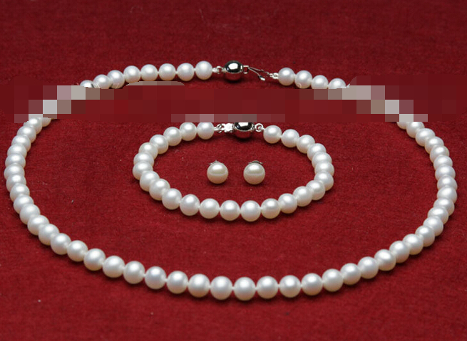 Free shipping charm Jew.657 AAA sets 7-8mm white freshwater cultured pearls necklace bracelets earringsFree shipping charm Jew.657 AAA sets 7-8mm white freshwater cultured pearls necklace bracelets earrings