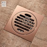 HIDEEP shower floor drain rose gold brass floor drain toilet and bathroom anti odor floor drain