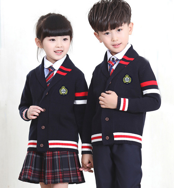 Niñas Uniforme Escolar Del Estudiante Británico Inglés Coreano Trajes Fijaron la Ropa Trajes Chaqueta Cardigan Camisas Pantalones de La Falda Con El Lazo