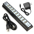 Mecall Tech 10 Puertos de Alta Velocidad USB 2.0 Hub + Adaptador de Corriente para Ordenador PC portátil