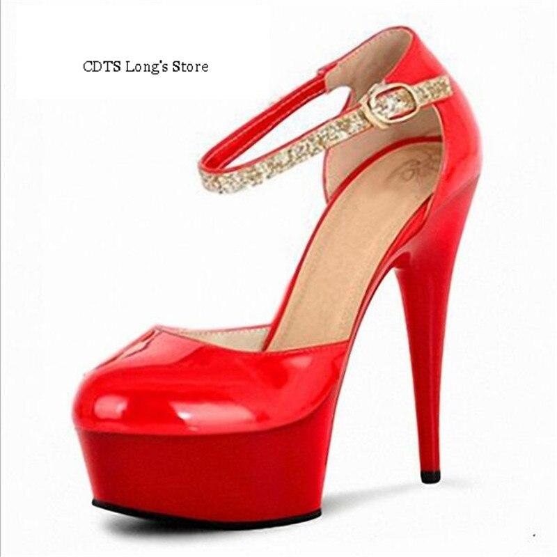 ФОТО CDTS 2016 Glitter shoes woman spring/autumn Round Toe 15cm high heels platform wedding pumps,Big 35-45 46