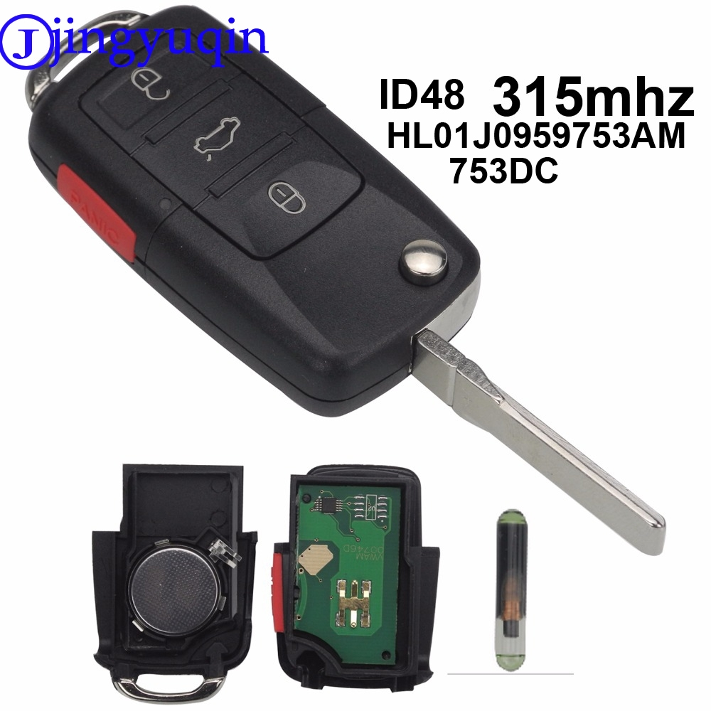 jingyuqin ASK HL01J0959753AM 753DC 315Mhz ID48 4B Flip Remote Key Shell For VOLKSWAGEN VW Touareg Switchblade Flip Case Fob