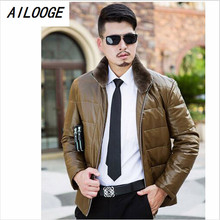 Men's Leather Jacket Down Coat Winter Jackets for Men Sheepskin Goose Down Jacket Stand Fur Collar Quality Genuine Leather Coats