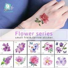 1Sheets Mini flower Body Art Waterproof Temporary Tattoos For Women Small Flower Design Flash Tattoo Sticker chic various butterflies and flower pattern waterproof tattoo sticker for women