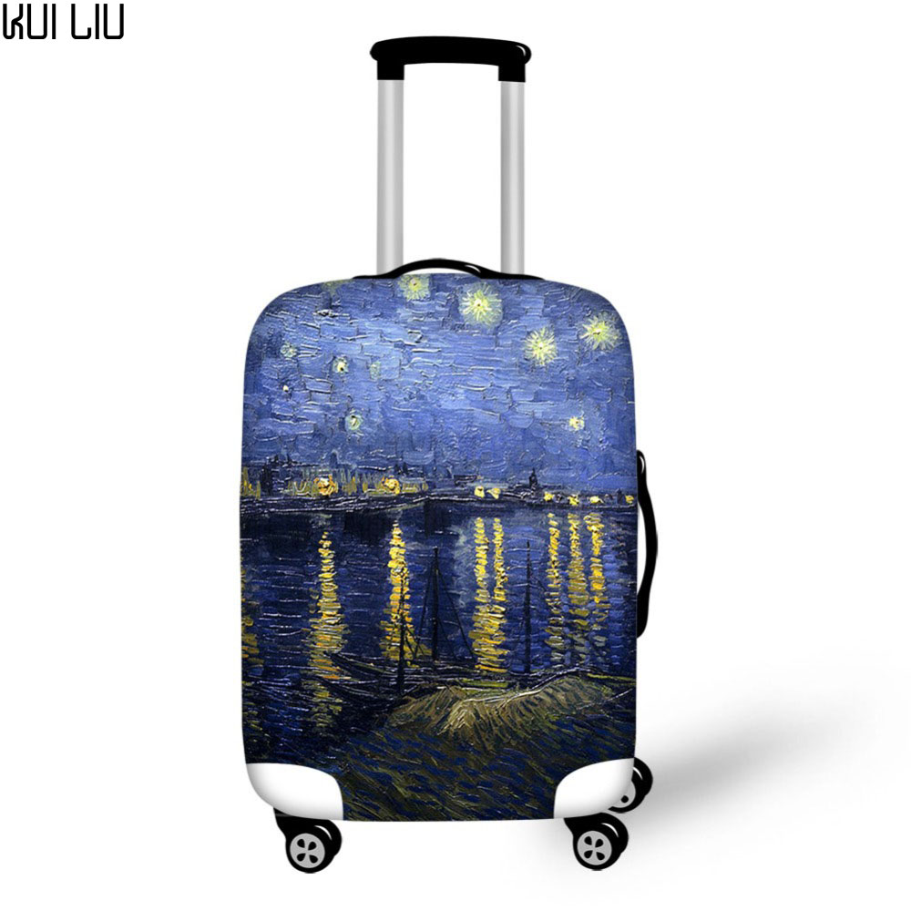 Customized Thicker Travel Luggage Suitcase Protective Cover Trunk Case Dust Cover Elastic Vincent Van Gogh Starry Night Print