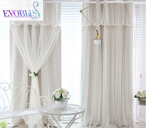 Korean lace curtains finished bedroom curtains with special offer fresh feeling full custom color shading floor physical insulat