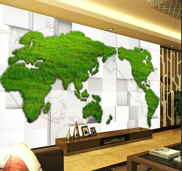 Non woven shipping new 3d stereoscopic quality imported green world non woven shipping new 3d stereoscopic quality imported green world map mural 3d wall panels gumiabroncs Image collections