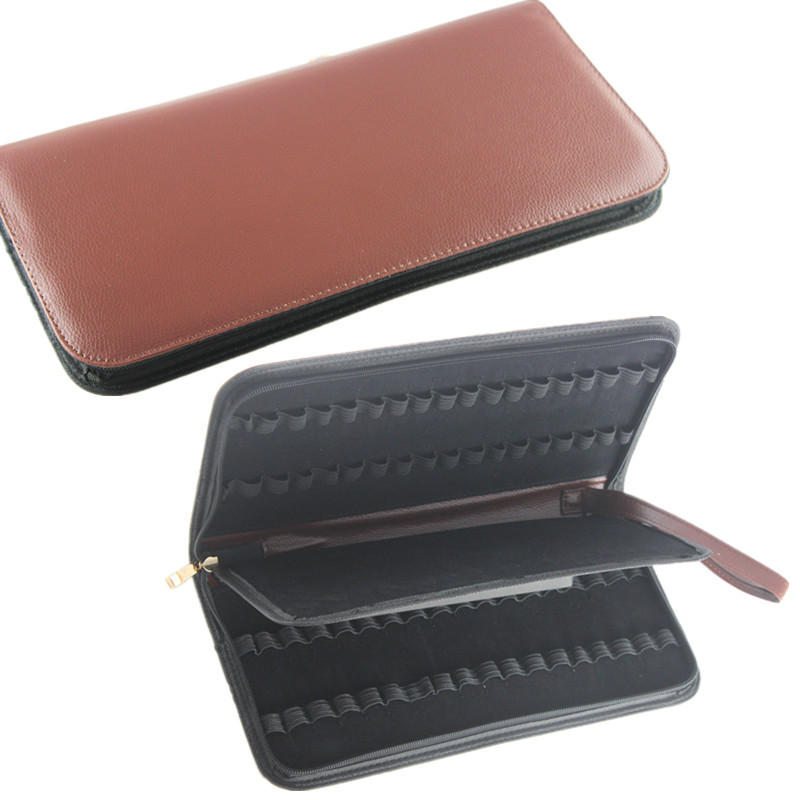 2PCS Fountain Pen/Roller Pen 36 Pens Brown Color PU Leather Case Storage Holder Bag parker 88 maroon lacquer gt fine point fountain pen