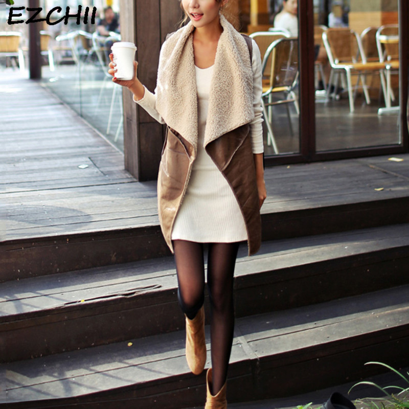 Autumn Winter Women Vest Coat Lapal Collar Leather Waistcoat Casual Women Sleeveless Jacket Faux Wool Fur Jacket Colete Feminino
