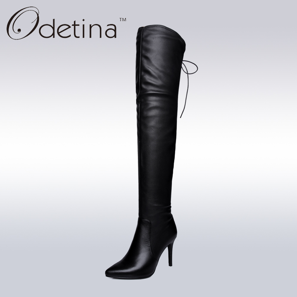 Odetina 2017 Handmade Large Size Women Genuine Leather Over The Knee Boots Zip Pointed Toe High