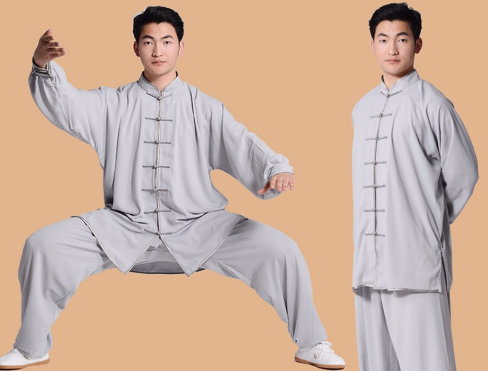 solid cotton flax chinese traditional men kungfu clothing Taichi kung fu suit clothe seven buckle taiji