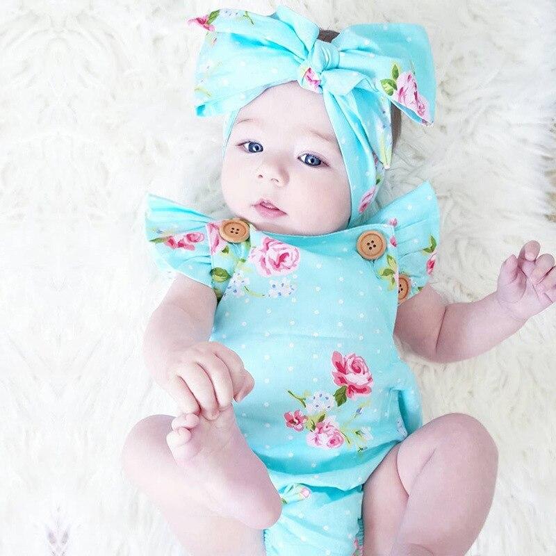 2 Pcs/ensemble bébé filles vêtements Ensemble Nouveau-Né Bébé Filles Floral One-pieces Barboteuse Sunsuit Bandeau Vêtements Set 0-24 M