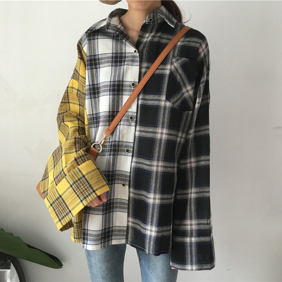 AULEAD BTS Plaid Shirt Women Cotton Patchwork Long Sleeve Casual Blouse Korean Fashion Clothing Spring Womens Tops And Blouses