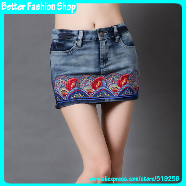 Better Fashion Apparel women floral embroidery denim mini skirts vintage ethnic pattern blue shorts new income summer 2014 - Shop store