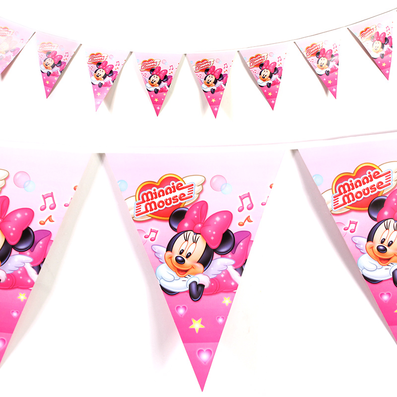3M 12flags Cartoon Minnie Mouse Theme Banner Flag Party for Kids Girls Happy Birthday Party Decoration Baby Theme Party Supplies