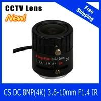 8Megapixel Varifocal CCTV 4K Lens 1 1 8 Inch 3 6 10mm CS Mount DC IRIS