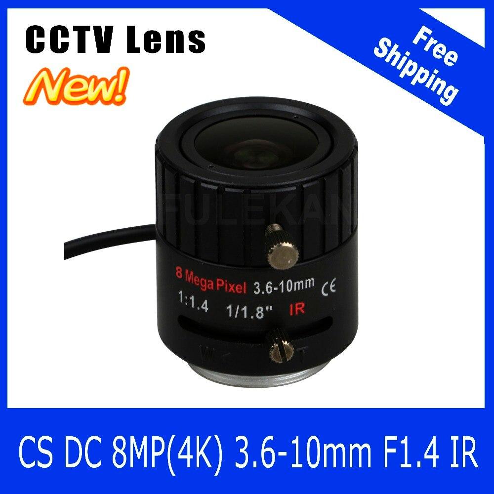8Megapixel Varifocal CCTV 4K Lens 1/1.8 inch 3.6-10mm CS Mount DC IRIS For SONY IMX178/IMX274 Box Camera/4K Camera Free Shipping 8megapixel varifocal cctv 4k lens 1 1 8 inch 3 6 10mm cs mount dc iris for sony imx178 imx274 box camera 4k camera free shipping