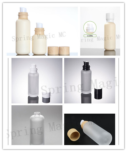 50PCS 110ML Frosted Glass Bottles With Wood Grain White Black Lid Portable pump Lotion Glass Bottle