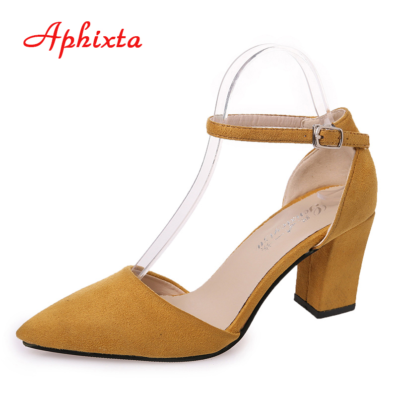 Aphixta Women Shoes Mary Janes 7.5cm High Heel  Square Toe Shallow  Buckle Strap Summer Chaussure Femme Casual Flock Mujer Pump xiaying smile summer new woman sandals platform women pumps buckle strap high square heel fashion casual flock lady women shoes