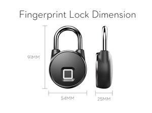 Image 2 - Cadenas intelligent de serrure de Bluetooth portatif serrure dempreinte digitale sans clé cadenas de porte de sécurité antivol pour la valise de tiroir de sac