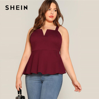 SHEIN Plus Size V-Cut Neck Peplum Top Women 2019 Summer Burgundy Elegant Ruffle Hem Vest camisole Sexy Solid Camis Tops