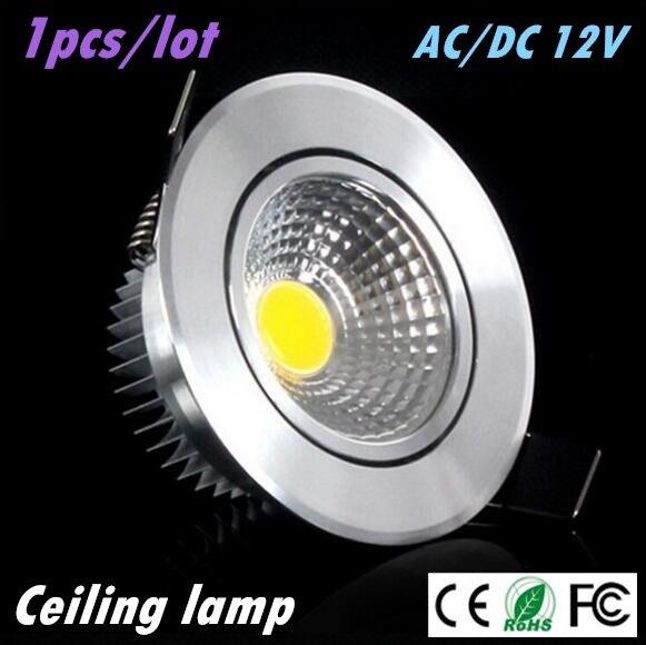 1X Super Bright Led downlight gaismas COB griestu vietas gaismas 3w 5w 7w AC / DC 12V griestu padziļinājums Gaismas iekštelpu apgaismojums