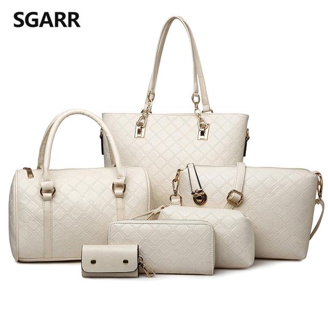Preto/bege/azul/ouro/café saco composit bolsa das mulheres comprar 1 presentes 5 peças bolsa de ombro saco de embreagem carteira carteira chave