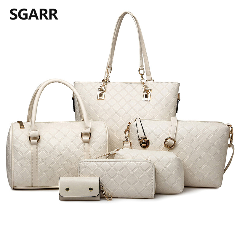 Black/beige/blue/golden/coffee Women Composite Bag Handbag Buy 1 Present 5 Pieces Shoulder Bag Clutch Bag Wallet Key Wallet