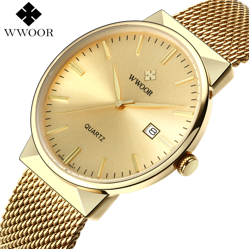 WWOOR Menn Vanntett Business Quartz Watch Herreklokker Top Brand Luxury Gold Stainess Stål Sport Armbåndsur Mann Analog Klokke
