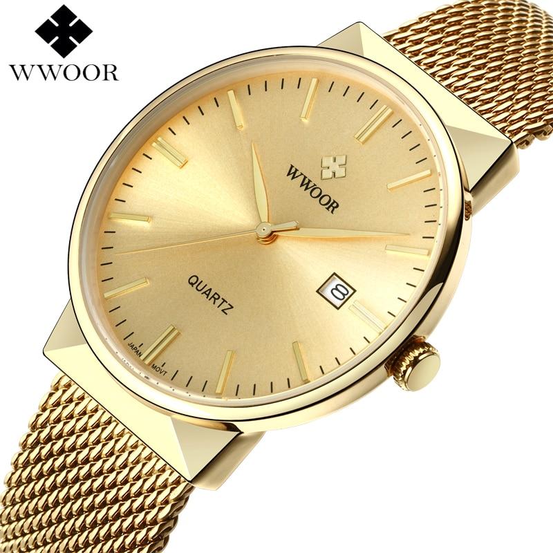 WWOOR Men Waterproof Business Quartz Watch Mens Watches Top Brand Luxury Gold Stainess Steel Sport Wrist Watch Male Analog Clock