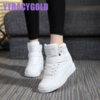 New 2017 Spring Autumn Ankle Boots Heels Shoes Women Casual Shoes Height Increased High Top Shoes