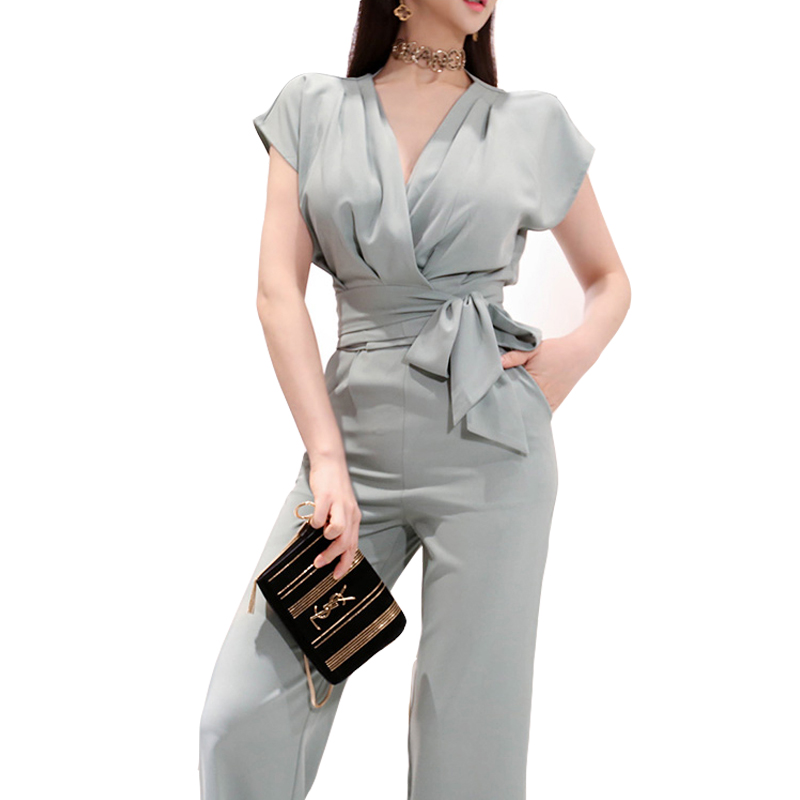 Pant Suits 2019 New Fashion Summer Elegant Ladies Office Work Wear Sexy V Neck Tops Wide Leg Full Length Pants 2 Piece Sets Suit