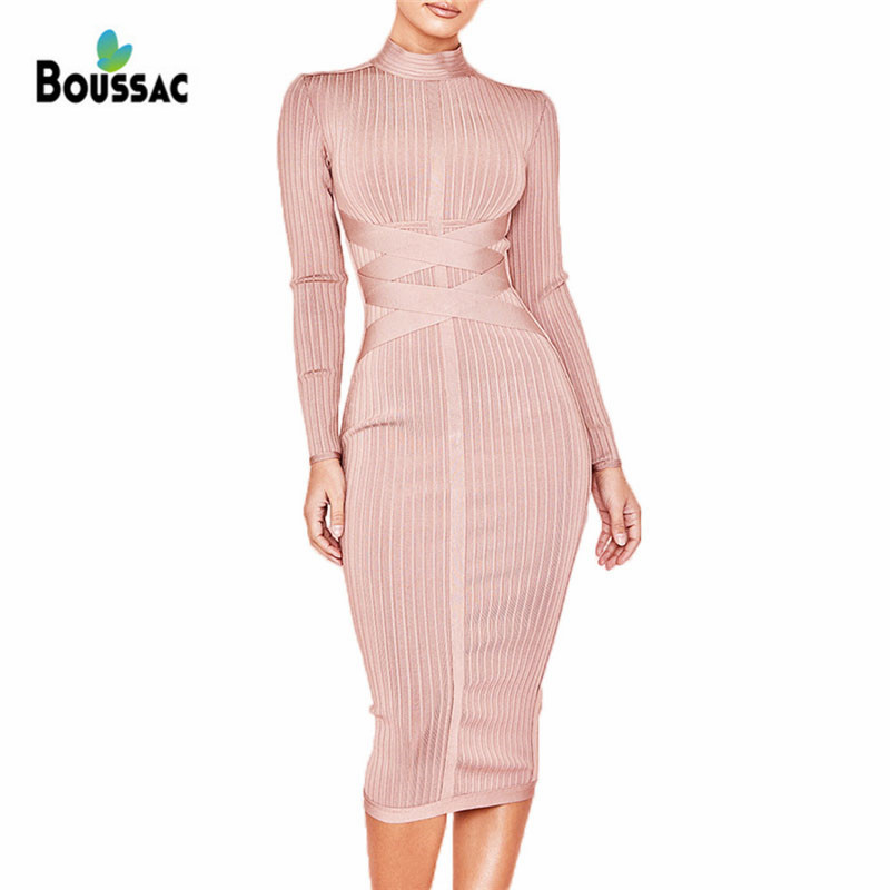BOUSSAC Women Bandage Dress 2019 New Spring Elastic Midi Office Dress Vestidos Elegant Celebrity Evening Party Occasion in Dresses from Women 39 s Clothing