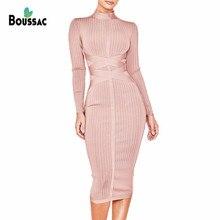 BOUSSAC Women Bandage Dress 2019 New Spring Elastic Midi Office Vestidos Elegant Celebrity Evening Party Occasion
