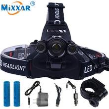 RU 9000lm CREE XML T6+2Q5 LED Headlight Headlamp Head Lamp Light torch +2×18650 battery+EU/US AC USB Car charger fishing Lights