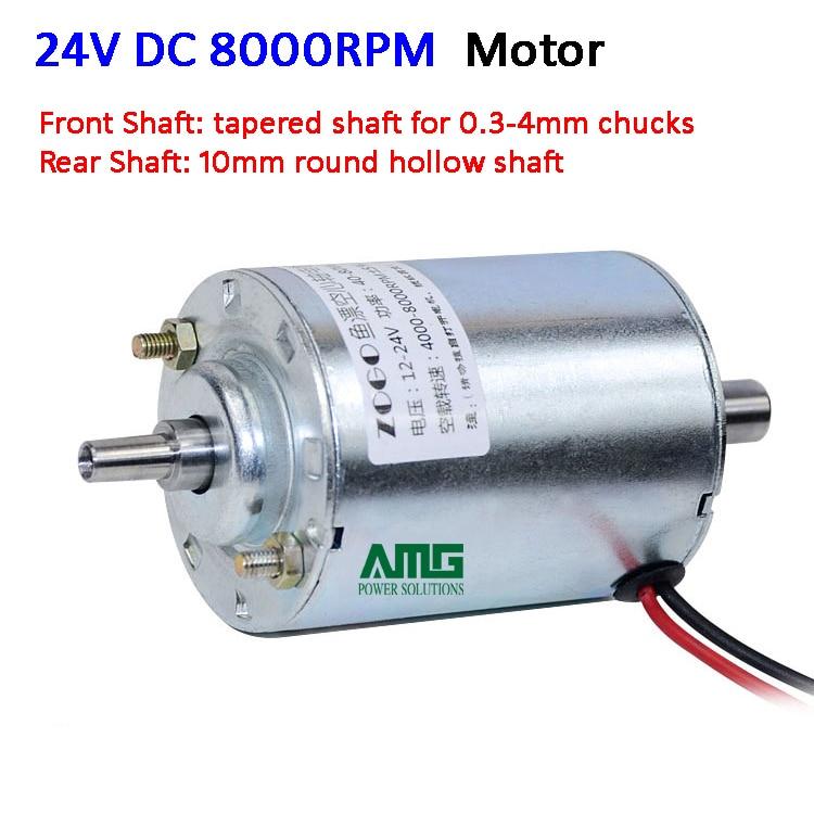 Micro 12 V ~ 24 V 4000 tr/min ~ 8000 tr/min DC moteur double arbres avec support, gouverneur, cordon d'alimentation, pour perceuse/mouture/coupe, support JT0 mandrin