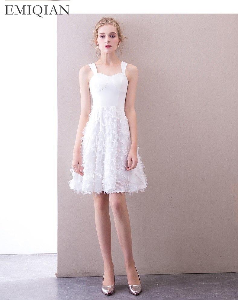 2018 New Arrival Reception Dress White Short Wedding Dress Mini