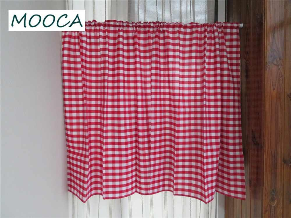 Valance Set Curtains For Kitchen Red White Gingham Checkered Plaid