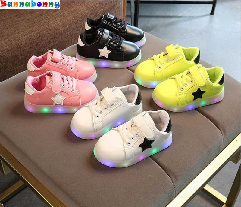 Led light shoes for girls fashion, four kinds of color changes of outdoor glow children casual shoes